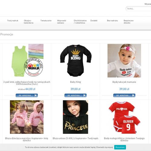 Ubranka dla niemowląt z nadrukiem